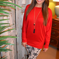 Fly Away Way Home Tunic: Bright Red