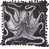 Onyx Octopus Satin Pillow