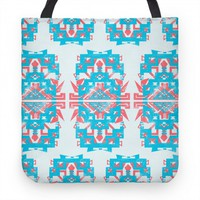 Aztec Tote Teal and Red