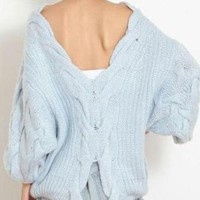 Blue Backless Oversized Cable Knit Sweater