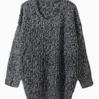 Gray Loose Fit Knitted Sweater