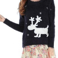 Black Mohair Deer Print Sweater