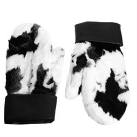 ASOS Faux Fur Cow Mittens with Leather Cuff