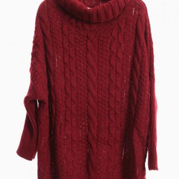 Wine Red Oversized Turtleneck Cable Knit Sweater