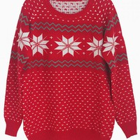 Red Snowflake Print Sweater