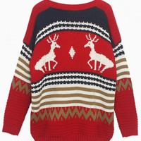 Red Deer Print Oversized Sweater