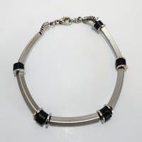 Black Stone and Silver Tube Bracelet