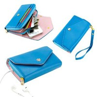 Blue Multifunctional Wallet Purse Case for iPhone 5/5S iPhone 5C 4S Samsung Galaxy S4 SIV S3 HTC M7 iPod