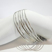 Set of 6 - Silver Tone Stacking Bangles Bracelet