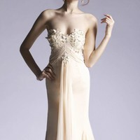 Embellished fitted gown by Janique