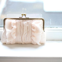 SALE / Bridal Clutch Purse / Vintage Inspired Bridal Clutch / Blush Wedding Clutch { Flutter Clutch : Blush and Blush Silk }