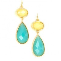 TURQUOISE AND IVORY GOLD FRAMED DOUBLE DROP EARRINGS