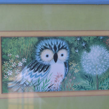 Vintage OWL Print upcycled robin egg blue distressed frame bright housewares bedroom decor