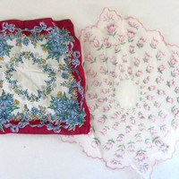 Vintage Hankies, Ladies Handkerchiefs, Vintage floral Handkerchief, Lot of 2