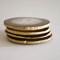 "High Street Market - Set of 4 ""Natural"" Agate Coasters with Gold Leaf Edge"