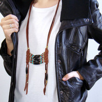 Breastplate Necklace Leather Breastplate Necklace Leather Necklace Indian Leather Mens Womens Necklace Leather Fringe Necklace Breastplate