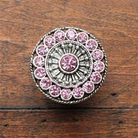 Crystal Drawer Knobs - Furniture Knobs with Pink Glass Crystals in Silver