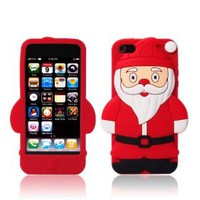 Cute Santa Claus Christmas Soft Silicone Case for Apple iPhone 4/4s (Red)