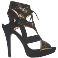Caged Metallic Heeled Sandal | Arden B.