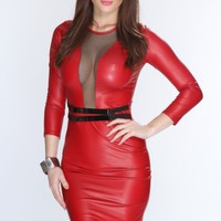 Red Faux Leather Mesh Cut Out Fitted Sexy Dress