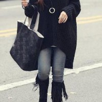 Black Hooded Knit Long Sweater