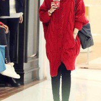 Red Wide Collar Cable Knit Long Sweater