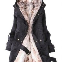Black Detachable Faux Fur Jacket