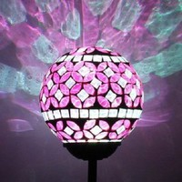 Solar Power Pink Mosaic Glass Ball Garden Light, Color Changing Multi-color Yard Light Stake, Great Gift! Christmas and Holiday Decor!