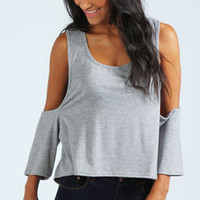 Sue Cut Out Shoulder Crop Top