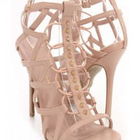 Nude Faux Leather Spiky Studded Decor Heels