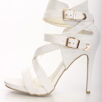 White Faux Leather Reptile Texture Heels