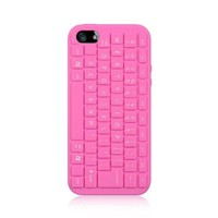 Pink Keyboard Design Silicone Soft Cover Case for Apple iPhone 5 5G 5th Gen by ApexGears