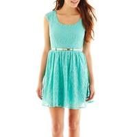 City Triangles® Cap-Sleeve Lace Skater Dress