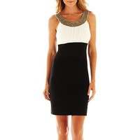 Scarlett Embellished Two-Tone Dress