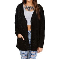 Black Confetti Yarn Cardigan