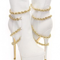 White Gold Faux Suede Chain Draped Boots