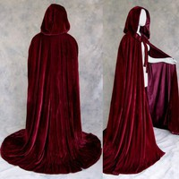 Lined Burgundy Wine Velvet Cloak - Medieval Renaissance Victorian Costume by Artemisia Designs