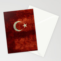 The National flag of Turkey - Vintage version Stationery Cards by LonestarDesigns2020 - Flags Designs +