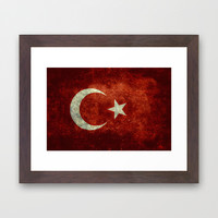The National flag of Turkey - Vintage version Framed Art Print by LonestarDesigns2020 - Flags Designs +