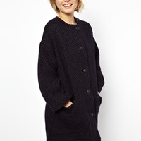 ASOS Collarless Button Front Coat
