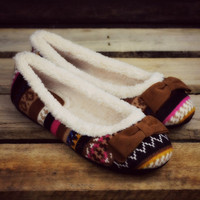 Warm Wishes Brown Fleece Ballerina Slippers