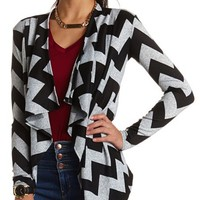 TIERED CHEVRON PRINT OPEN CARDIGAN