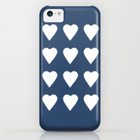 16 Hearts White on Navy iPhone & iPod Case by Project M