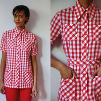 Vtg Belted Checkered Red White SS Retro Button Up Shirt