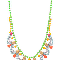 Shadow Play Rhodium Plated Necklace in Neon
