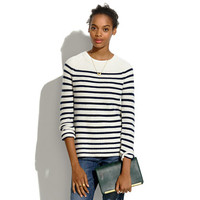 Elbow-Patch Stadium Sweater in Stripe