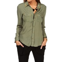 SALE-Olive Studded Shirt