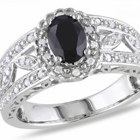 1/5 CT Diamond TW And 1 CT TGW Black Sapphire Fashion Ring Silver I3 - Rings