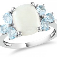 3 Carat Opal and Blue Topaz Silver Ring - Rings