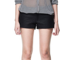 NWOT ZARA LEATHER EFFECT SHORTS WITH QUILTED FRONT BLACK SIZE L